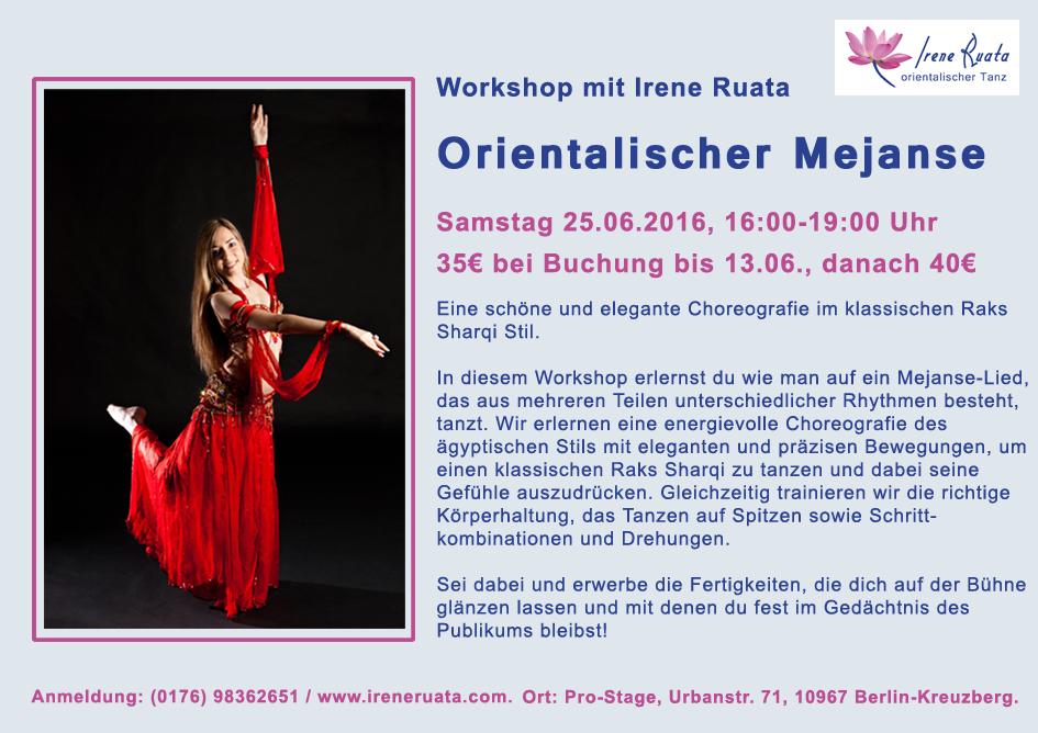 Workshop Orientalischer Mejanse mit Irene Ruata in Berlin-Kreuzberg