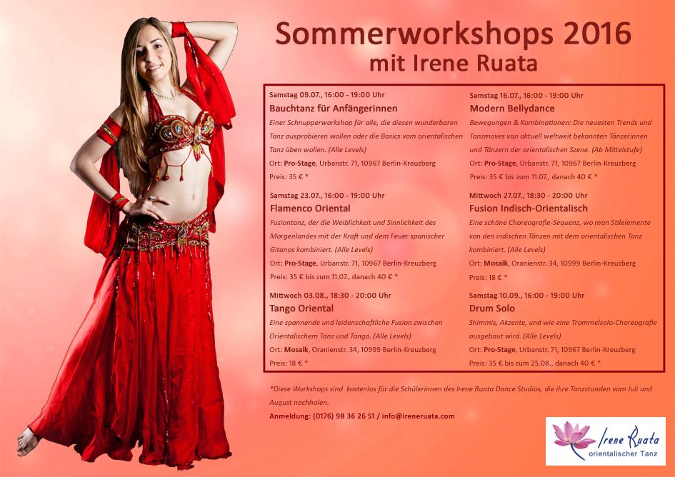 Bauchtanz Workshops im Sommer mit Irene Ruata in Berlin-Kreuzberg