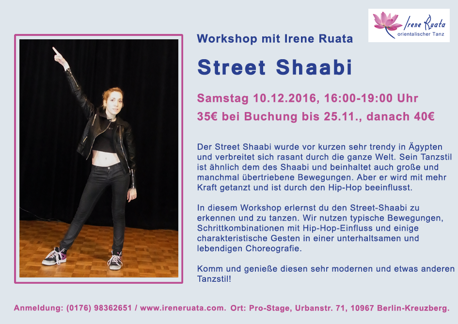 Workshop Street Shaabi mit Irene Ruata in Berlin-Kreuzberg